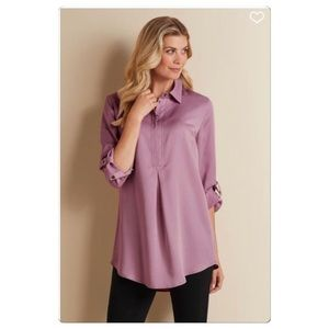 Soft Surroundings Half Button Down 3/4 Sleeve Top